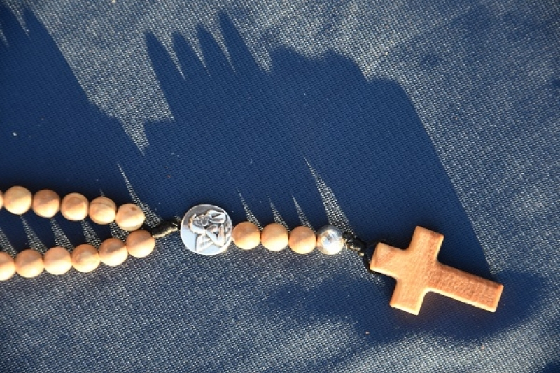 Rosary Olive Wood with Angel Medal
